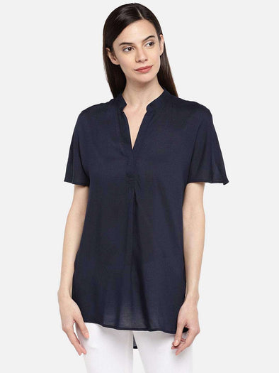 Women's Modal Navy Regular Fit Blouse Cottonworld Women's Tops