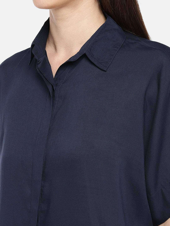 Cottonworld BLOUSE 77 CM-XSMALL / NAVY WOMEN'S 100% MODAL NAVY REGULAR FIT BLOUSE