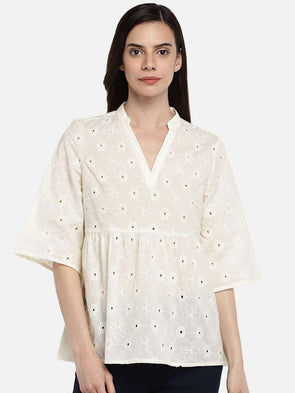 Cottonworld BLOUSE 77 CM-XSMALL / OFFWHITE WOMEN'S 100% CAMBRIC OFFWHITE REGULAR FIT BLOUSE