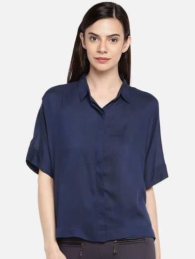 Cottonworld BLOUSE 77 CM-XSMALL / ROYAL WOMEN'S 100% MODAL ROYAL REGULAR FIT BLOUSE