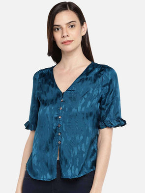 Cottonworld BLOUSE 77 CM-XSMALL / TEAL WOMEN'S 100% VISCOSE TEAL REGULAR FIT BLOUSE