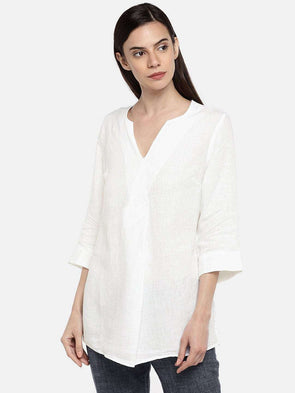 Cottonworld BLOUSE 77 CM-XSMALL / WHITE WOMEN'S 100% LINEN WHITE A LINE BLOUSE