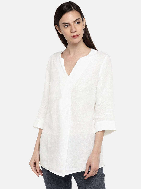 Women's Linen White A Line Blouse Cottonworld Women's Tops
