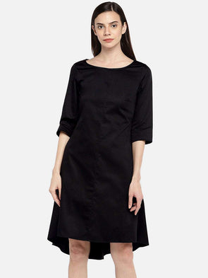 Cottonworld DRESS 77 CM-XSMALL / BLACK WOMEN'S 100% COTTON BLACK REGULAR FIT DRESS