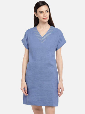 Cottonworld DRESS 77 CM-XSMALL / BLUE WOMEN'S 66% LINEN 34% COTTON BLUE REGULAR FIT DRESS