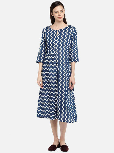 Cottonworld DRESS 77 CM-XSMALL / NAVY WOMEN'S 100% COTTON NAVY REGULAR FIT DRESS