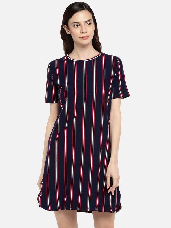 Cottonworld KDRESS 77 CM-XSMALL / NAVY WOMEN'S 95% COTTON 5% ELASTANE NAVY REGULAR FIT KDRESS