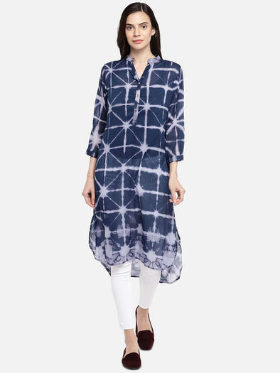 Cottonworld KURTI 77 CM-XSMALL / NAVY WOMEN'S 100% COTTON NAVY REGULAR FIT KURTI