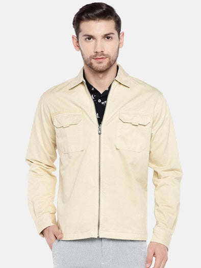 Men's Cotton Beige Regular Fit Jacket Cottonworld Men's Jackets
