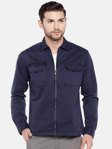Men's Cotton Navy Regular Fit Jacket Cottonworld Men's Jackets