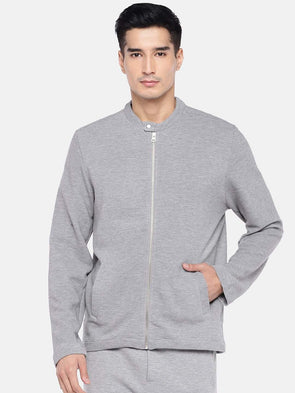 Men's Cotton Polyster Grey Melan Regular Fit Jacket Cottonworld Men's Jackets
