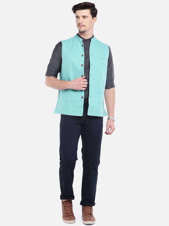 Cottonworld Men's Jackets MEN'S GREEN COTTON LINEN NEHRU JACKET