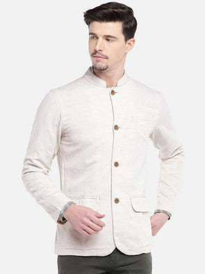 Men's Natural Bandhgala Jacket Cottonworld Men's Jackets