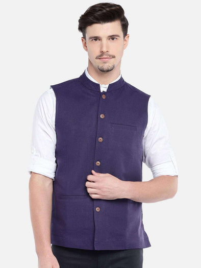 Men's Navy Cotton Linen Nehru Jacket Cottonworld Men's Jackets