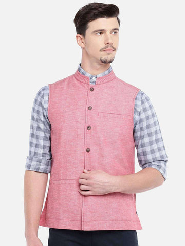 Cottonworld Men's Jackets MEN'S RED COTTON LINEN NEHRU JACKET