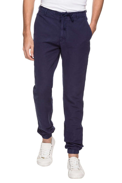 Cottonworld Men's Joggers MEN'S 50% COTTON 50% LINEN SOLID CASUAL NAVY REGULAR FIT JOGGER
