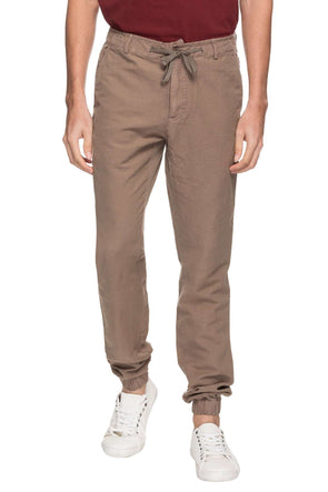 Cottonworld Men's Joggers MEN'S 50% COTTON 50% LINEN SOLID CASUAL OLIVE REGULAR FIT JOGGER