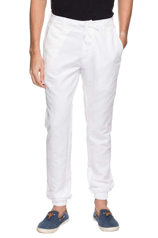 Cottonworld Men's Joggers MEN'S 50% COTTON 50% LINEN SOLID CASUAL WHITE REGULAR FIT JOGGER