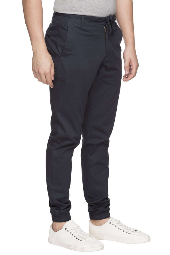 Cottonworld Men's Joggers MEN'S 97% COTTON 3% LYCRA NAVY REGULAR FIT JOGGER