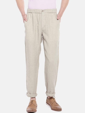 Cottonworld Men's Pants 30 / BEIGE Men's Linen Woven Natural Regular Fit Pants