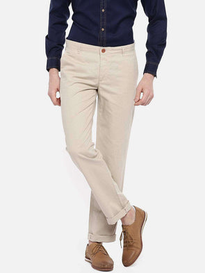 Cottonworld Men's Pants 77 CM-30 INS / BEIGE MEN'S 50% COTTON 50% LINEN BEIGE REGULAR FIT PANTS