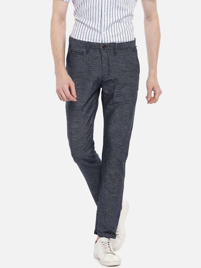 Cottonworld Men's Pants 77 CM-30 INS / INDIGO MEN'S 70% COTTON 30% LINEN INDIGO SLIM FIT PANTS