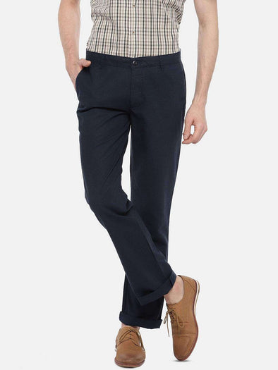 Cottonworld Men's Pants 77 CM-30 INS / NAVY MEN'S 60% COTTON 40% LINEN NAVY REGULAR FIT PANTS