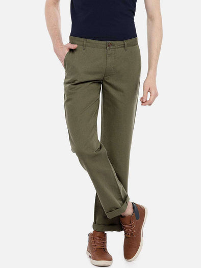 Cottonworld Men's Pants 77 CM-30 INS / OLIVE MEN'S 50% COTTON 50% LINEN OLIVE REGULAR FIT PANTS