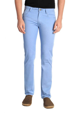 Cottonworld Men's Pants Men Blue Regular Fit  Casual Pant