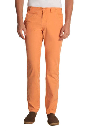 Men Peach Regular Fit Casual Pant Cottonworld Men's Pants
