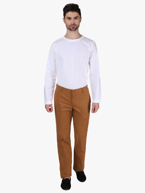 Cottonworld Men's Pants MEN'S 100% COTTON MUSTARD REGULAR FIT PANTS