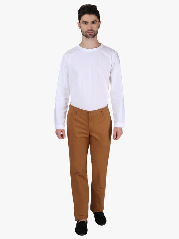 Men's Cotton Mustard Regular Fit Pants Cottonworld Men's Pants