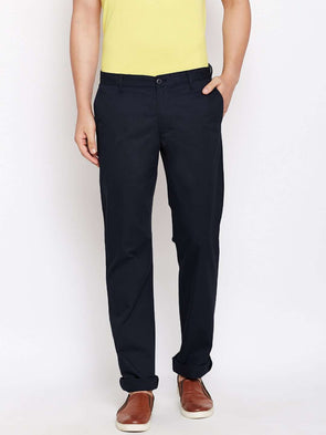 Cottonworld Men's Pants MEN'S 100% COTTON NAVY REGULAR FIT PANTS