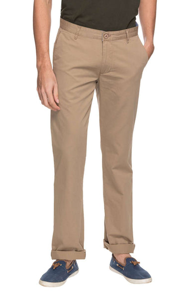 Cottonworld Men's Pants MEN'S 100% COTTON SOLID CASUAL BROWN REGULAR FIT PANTS