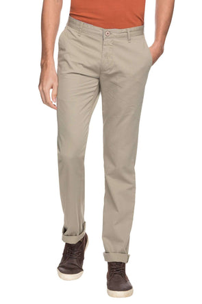Cottonworld Men's Pants MEN'S 100% COTTON SOLID CASUAL OLIVE REGULAR FIT PANTS
