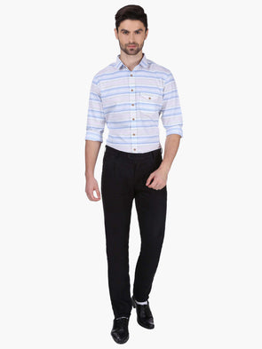 Men's Linen Black Slim Fit Pants Cottonworld Men's Pants