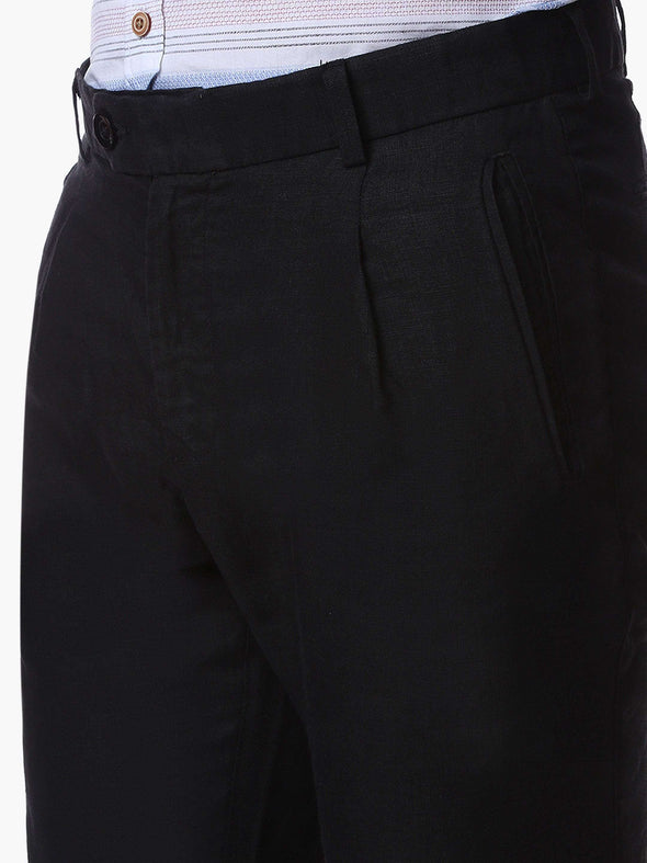Cottonworld Men's Pants MEN'S 100% LINEN BLACK SLIM FIT PANTS