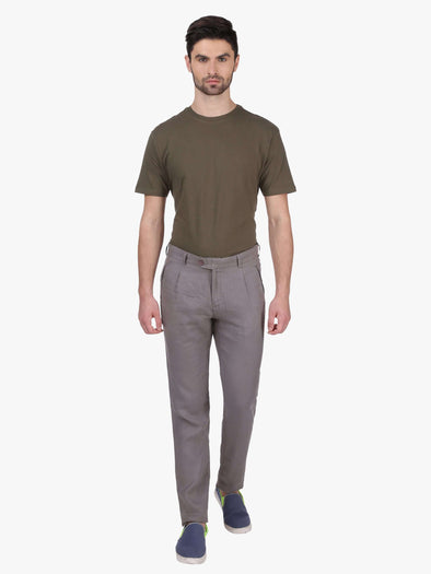 Cottonworld Men's Pants MEN'S 100% LINEN GREY SLIM FIT PANTS