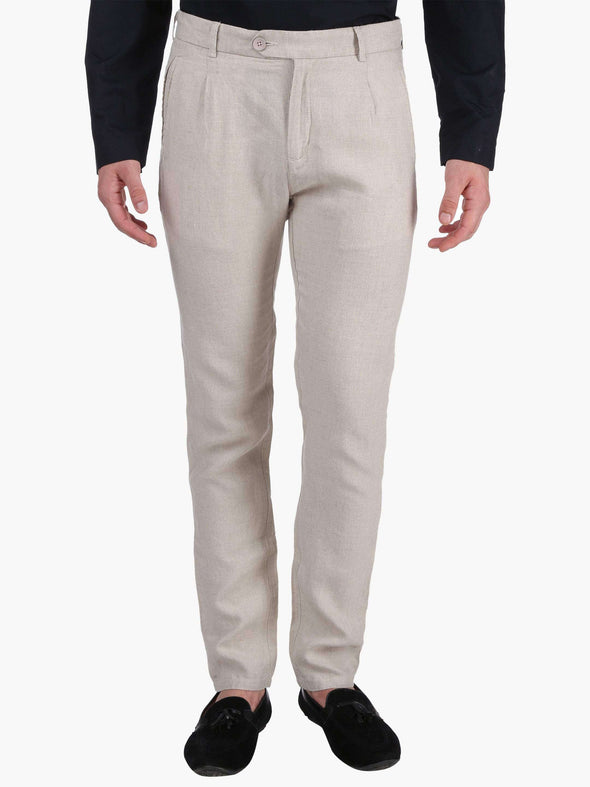 Men's Linen Natural Slim Fit Pants Cottonworld Men's Pants