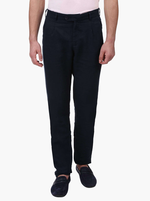 Cottonworld Men's Pants MEN'S 100% LINEN NAVY SLIM FIT PANTS