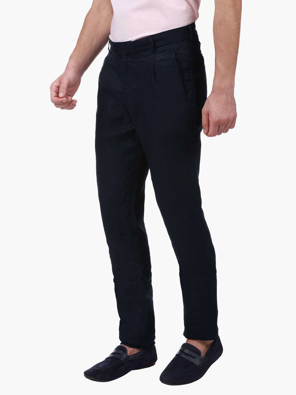 Men's Linen Navy Slim Fit Pants