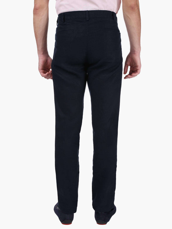 Men's Linen Navy Slim Fit Pants Cottonworld Men's Pants