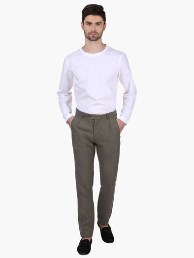 Cottonworld Men's Pants MEN'S 100% LINEN OLIVE SLIM FIT PANTS