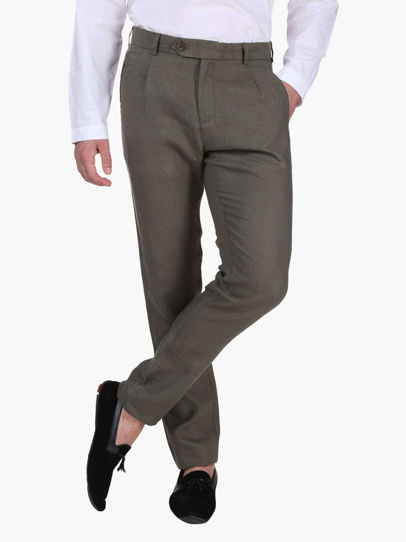 Men's Linen Olive Slim Fit Pants Cottonworld Men's Pants