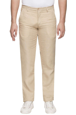 Cottonworld Men's Pants MEN'S 100% LINEN SLIM FIT KHAKI PANT