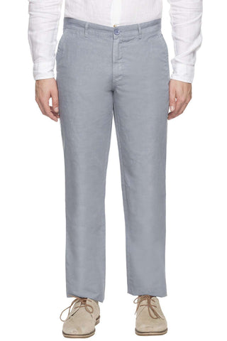 Cottonworld Men's Pants MEN'S 50% COTTON 50% LINEN LBLUE SLIM FIT PANTS