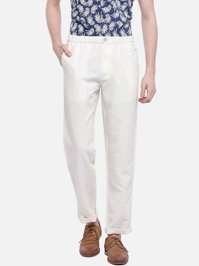 Cottonworld Men's Pants MEN'S 50% COTTON 50% LINEN WHITE REGULAR FIT PANTS