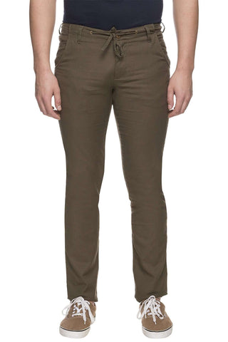 Cottonworld Men's Pants MEN'S 60% COTTON 40% LINEN OLIVE REGULAR FIT PANT