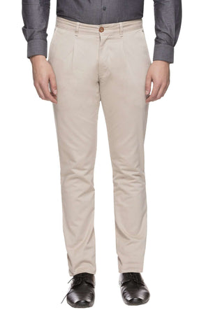 Men's Cotton Lycra Beige Custom-Fit Pant Cottonworld Men's Pants