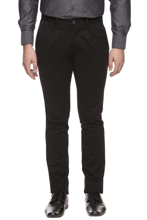 Men's Cotton Lycra Black Custom-Fit Pant Cottonworld Men's Pants
